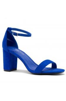 Shoe Land Madeline-Womens Open Toe Ankle Strap Chunky Block Low Heel Dress Sandals (RoyalBlue)
