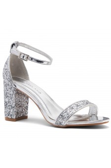 Shoe Land Madeline-Womens Open Toe Ankle Strap Chunky Block Low Heel Dress Sandals (SilverGlitter)