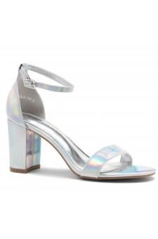 Shoe Land Madeline-Womens Open Toe Ankle Strap Chunky Block Low Heel Dress Sandals (SilverHG)