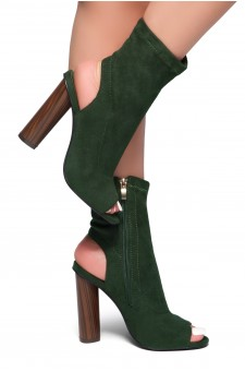 HerStyle Madellyyn Peep Toe Cutout Chunky Heeled Booties (Olive)