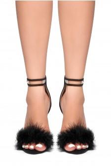 HerStyle Madyson-Perspex Strap Fluffy Stiletto Heel (Black)