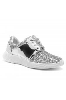 HerStyle MAGOR KICK-Glitter sneaker with lace upper (Silver)