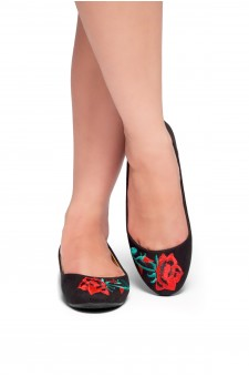 HerStyle Majorca-Suede Round Toe Embroidered Floral Ballet Flat (Black)