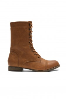 Women's Tan Mannzo Military Lace up Combat Boots