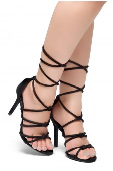 HerStyle MARCH-Stiletto heel, lace-up, back closure sandals (Black)
