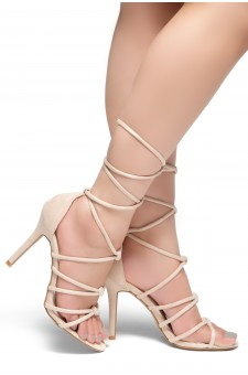 HerStyle MARCH-Stiletto heel, lace-up, back closure sandals (Nude)