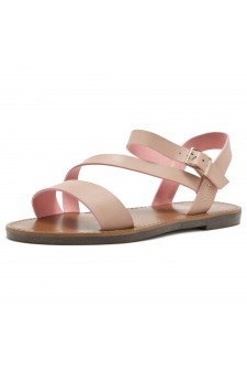 Shoe Land Marinna- Lightweight Flat Sandal with Faux Leather Straps Sandals (Mauve)