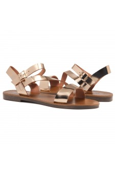 Shoe Land Marinna- Lightweight Flat Sandal with Faux Leather Straps Sandals (RoseGold)
