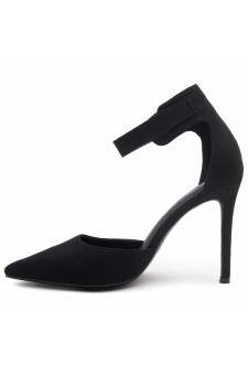 Shoe Land Marneena-2-Ankle Strap Squared Buckle Close Pointed Toe Stiletto Heel Pumps (Black)