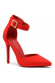 Shoe Land Marneena-2-Ankle Strap Squared Buckle Close Pointed Toe Stiletto Heel Pumps (Red)