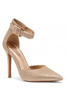 Shoe Land Marneena-2-Ankle Strap Squared Buckle Close Pointed Toe Stiletto Heel Pumps (RoseGoldShimmer)