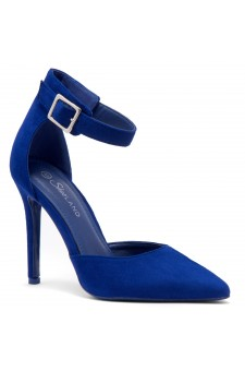 Shoe Land Marneena-2-Ankle Strap Squared Buckle Close Pointed Toe Stiletto Heel Pumps (RoyalBlue)
