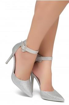 Shoe Land Marneena-2-Ankle Strap Squared Buckle Close Pointed Toe Stiletto Heel Pumps (SilverShimmer)