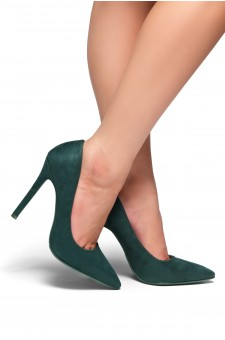 HerStyle Marneena-Women's Manmade 4-inch Sueded Heel with Lightly Pointed Toe (F.Green)