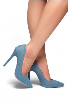 HerStyle Marneena-Women's Manmade 4-inch Sueded Heel with Lightly Pointed Toe (Light Blue DM)
