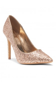 HerStyle Marneena-Women's Manmade 4-inch Sueded Heel with Lightly Pointed Toe (RoseGold Glitter)