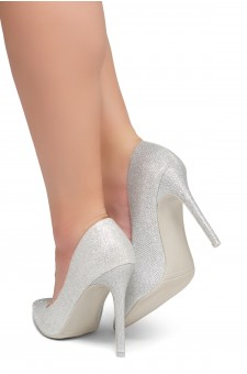 HerStyle Marneena-Women's Manmade 4-inch Sueded Heel with Lightly Pointed Toe (Silver Shimmer)