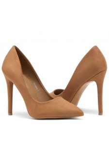 HerStyle Marneena-Women's Manmade 4-inch Sueded Heel with Lightly Pointed Toe (Taupe)
