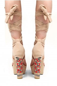 HerStyle Women's Marra Red Snake Embroidered Lace up Platform Heel in Faux Suede - Beige