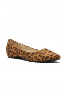 Women's Leopard Marrillee Sueded Pump Flat with Lightly Pointed Toe