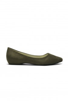 HerStyle Women's Marrillee Sueded Pump Flat with Lightly Pointed Toe (Olive)