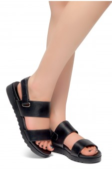 HerStyle Marris- Open Toe Velcro Strap Double-Banded Vamp with Platform Sandals (Black)