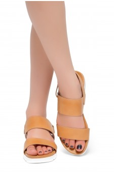HerStyle Marris- Open Toe Velcro Strap Double-Banded Vamp with Platform Sandals (Camel)
