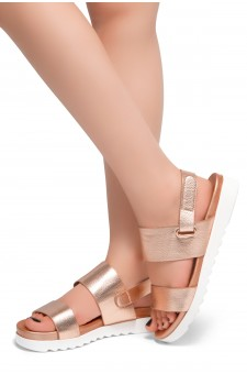 HerStyle Marris- Open Toe Velcro Strap Double-Banded Vamp with Platform Sandals (RoseGold)