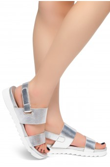 HerStyle Marris- Open Toe Velcro Strap Double-Banded Vamp with Platform Sandals (Silver)