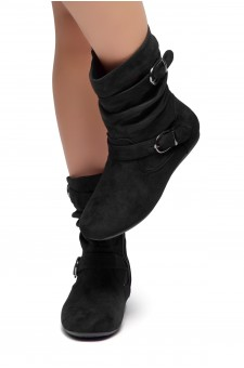 HerStyle Marvel-Round toe, stacked flat heel, buckle detail (Black)
