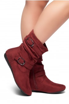 HerStyle Marvel-Round toe, stacked flat heel, buckle detail (Burgundy)