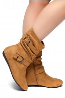 HerStyle Marvel-Round toe, stacked flat heel, buckle detail (Cognac)