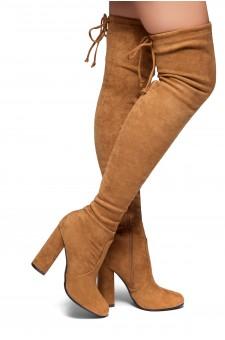 HerStyle Mayari-Almond toe, chunky heel, thigh high construction (Tan)