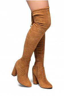HerStyle Mayari-Almond toe, chunky heel, thigh high construction (Tan)