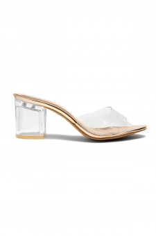 HerStyle Mayylyn Lucite Chunky Perspex Heel (Clear Rose Gold)