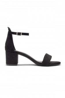 HerStyle Mazzorno an open toe, block heel,ankle strap with an adjustable buckle (Black)