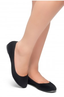 HerStyle Memory Forever -Round Toe, No detail, Ballet Flat (Black)