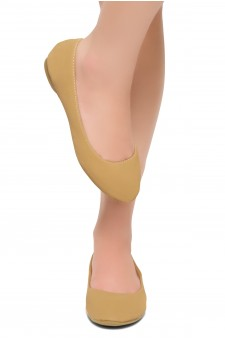 HerStyle Memory Forever -Round Toe, No detail, Ballet Flat (Tan)