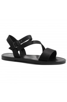Shoe Land Marinna- Lightweight Flat Sandal with Faux Leather Straps Sandals (Black)