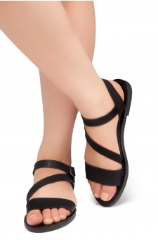Shoe Land Kolea - Lightweight Flat Sandal with Faux Leather Straps Sandals (Black)