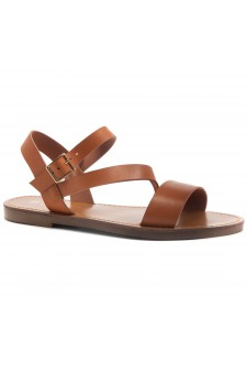 HerStyle Merina- Lightweight Flat Sandal with Faux Leather Straps Sandals (Cognac)