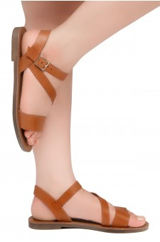 Shoe Land Kolea - Lightweight Flat Sandal with Faux Leather Straps Sandals (Cognac)