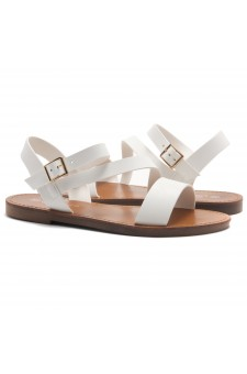 HerStyle Merina- Lightweight Flat Sandal with Faux Leather Straps Sandals (White)