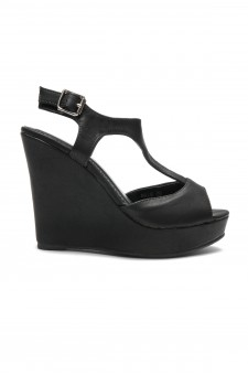 Women's Black Manmade Millie Sueded T-Strap Wedge Sandal with Bright Buckle