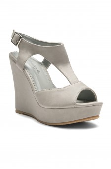 Women's Grey Manmade Millie Sueded T-Strap Wedge Sandal with Bright Buckle