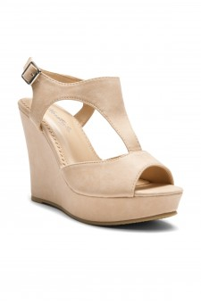 Women's Nude Manmade Millie Sueded T-Strap Wedge Sandal with Bright Buckle