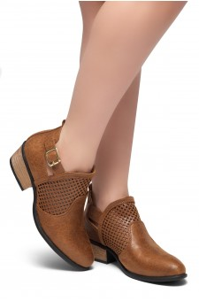 HerStyle Milton-Stacked Low Heel Almond Toe Buckled Decorative Booties (Cognac)
