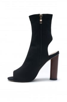 HerStyle Mingglee Peep Toe Cutout Chunky Heeled Booties - Black