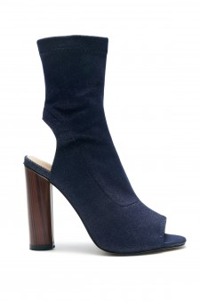 HerStyle Mingglee Peep Toe Cutout Chunky Heeled Booties - Navy / Denim