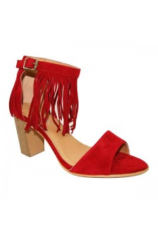 Women's Red Manmade Miranni Sueded Stacked Heel Sandal with Fringed Ankle